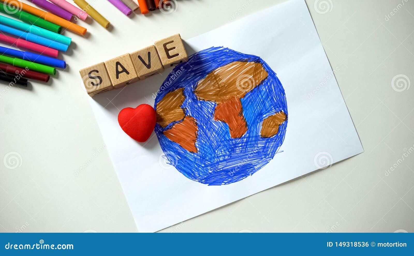Спасительный знак слова и сердца на картине планеты, концепции экологичности, мире вне домой