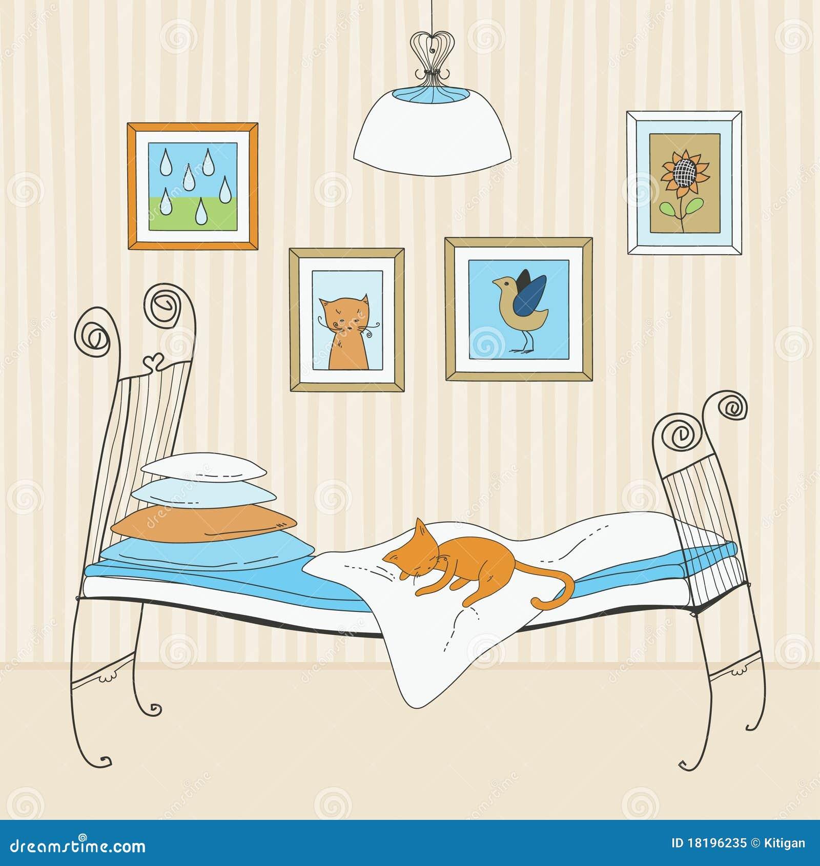 Как спят коты на кровати рисунок