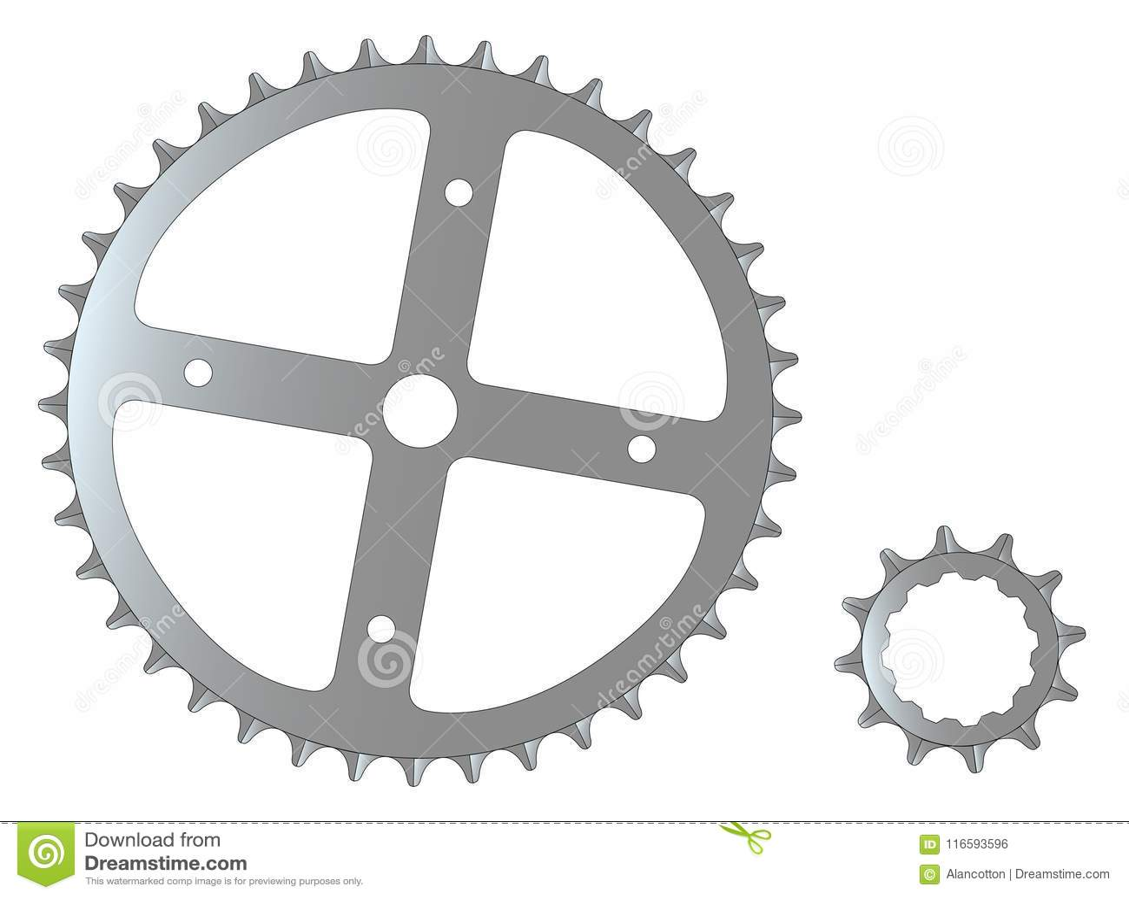 Спереди и сзади изолированные Cogs велосипеда