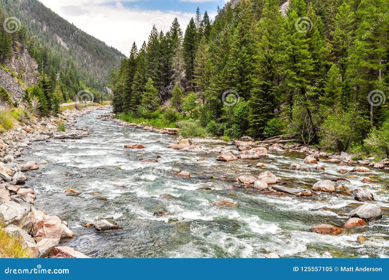 Спеша воды реки Gallatin