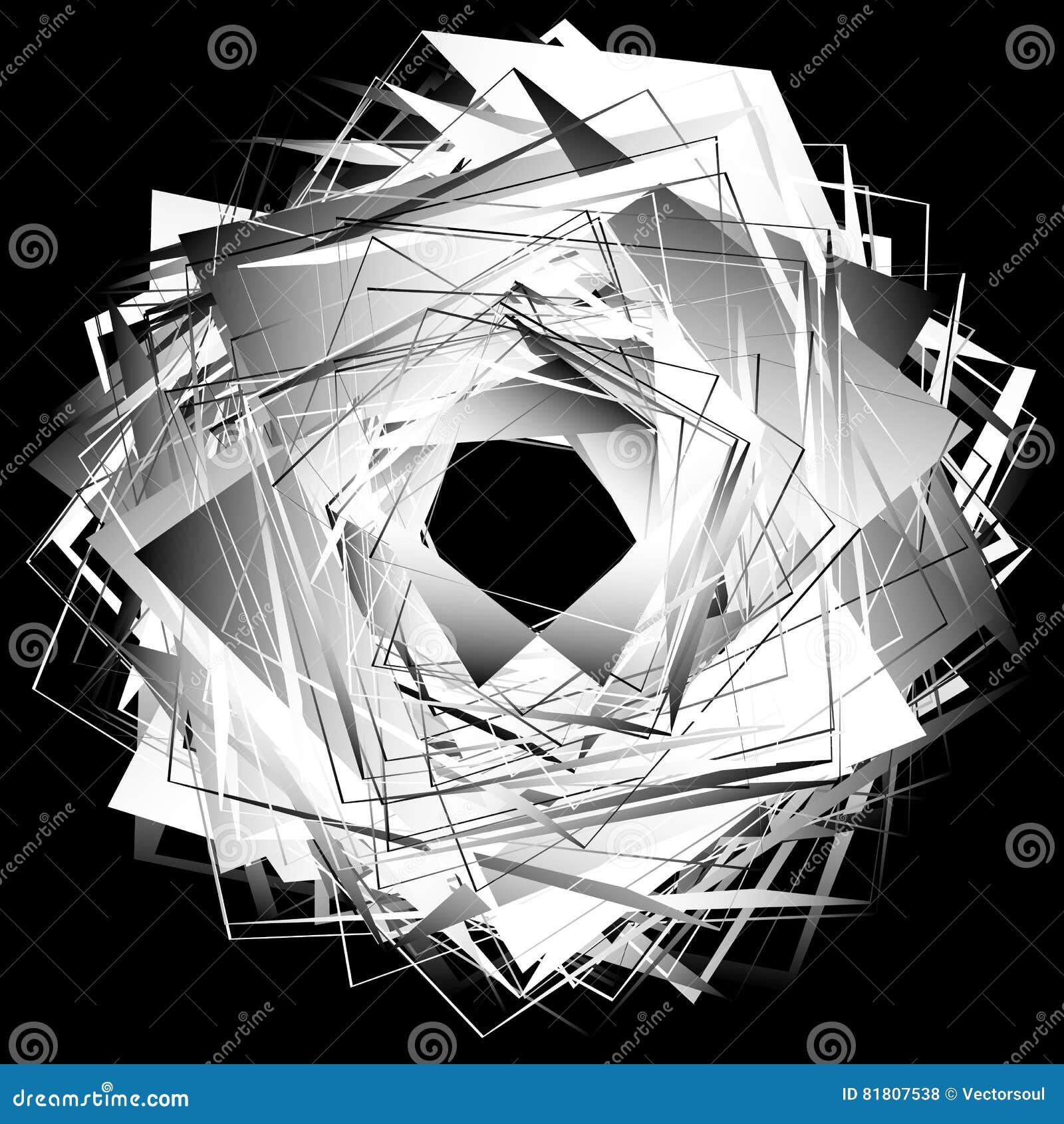 Спирально абстрактный геометрический элемент - художническое monochrome illust