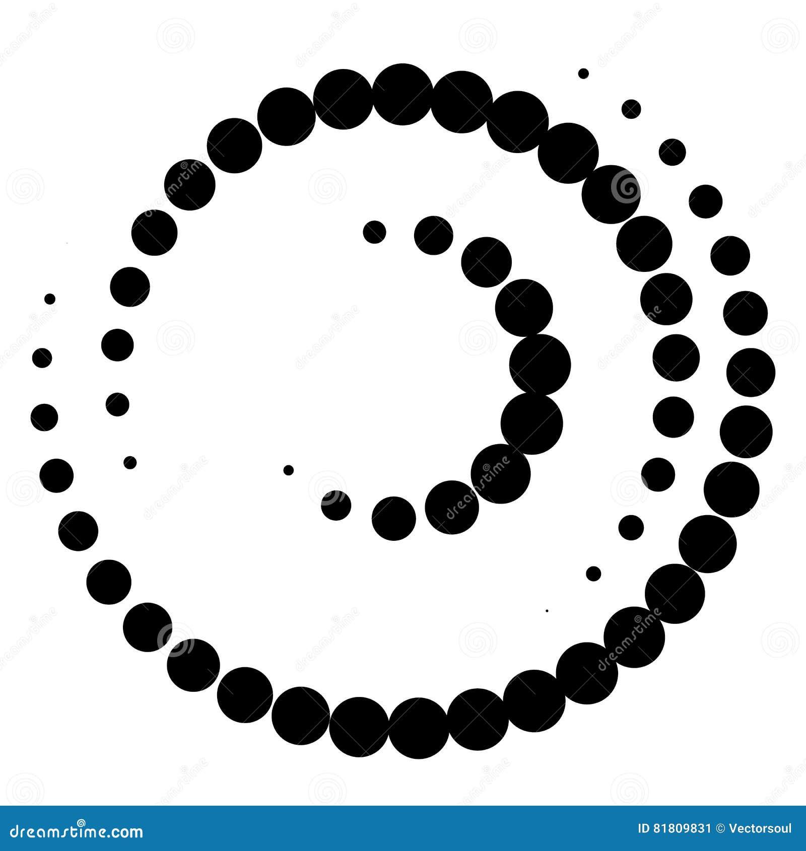 Спиральный элемент с концентрическими кругами Абстрактное декоративное elem