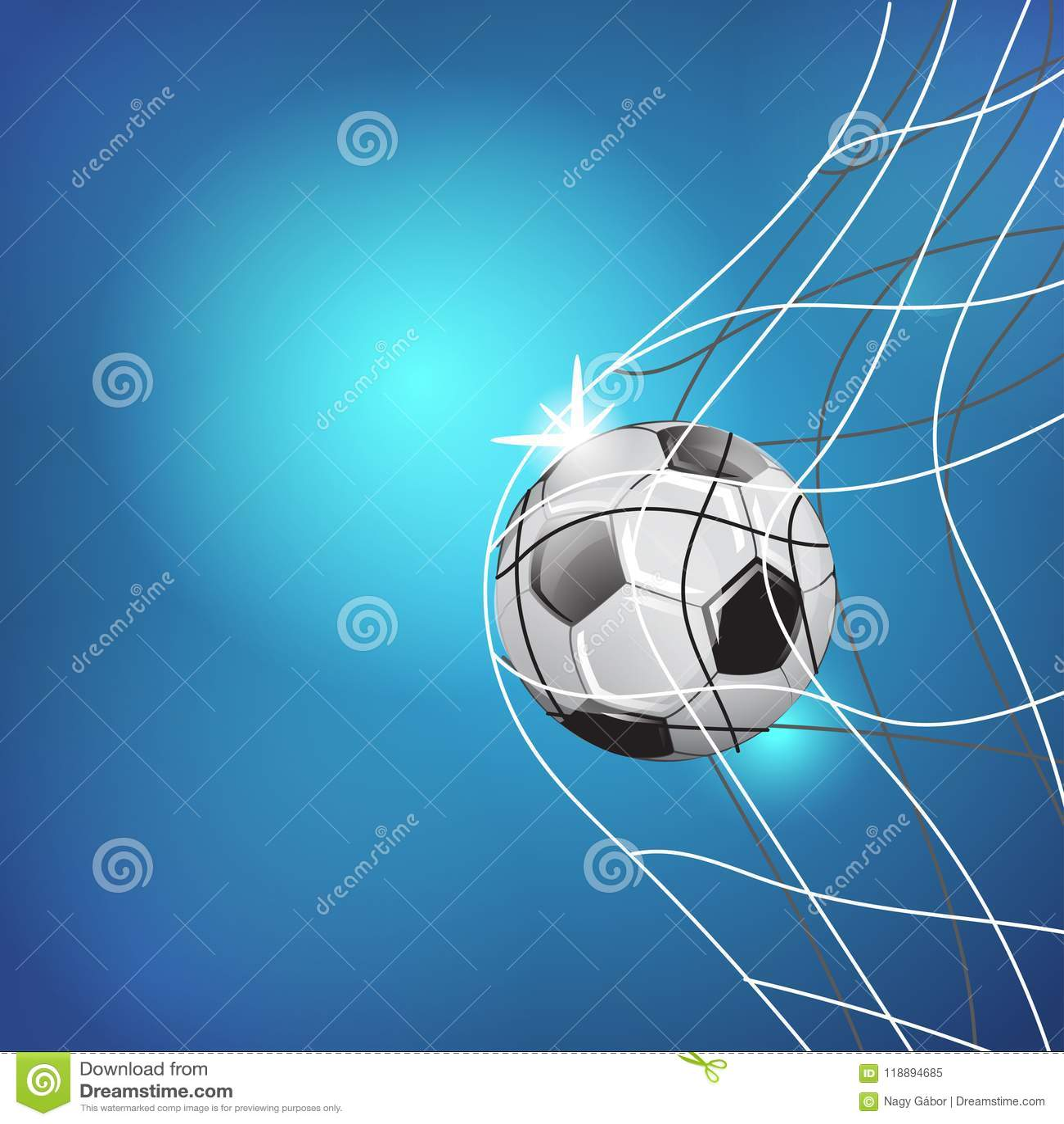 Спичка игры футбола Момент цели сеть шарика ИЛЛЮСТРАЦИЯ ШАБЛОНА НА ГОЛУБОЙ ПРЕДПОСЫЛКЕ