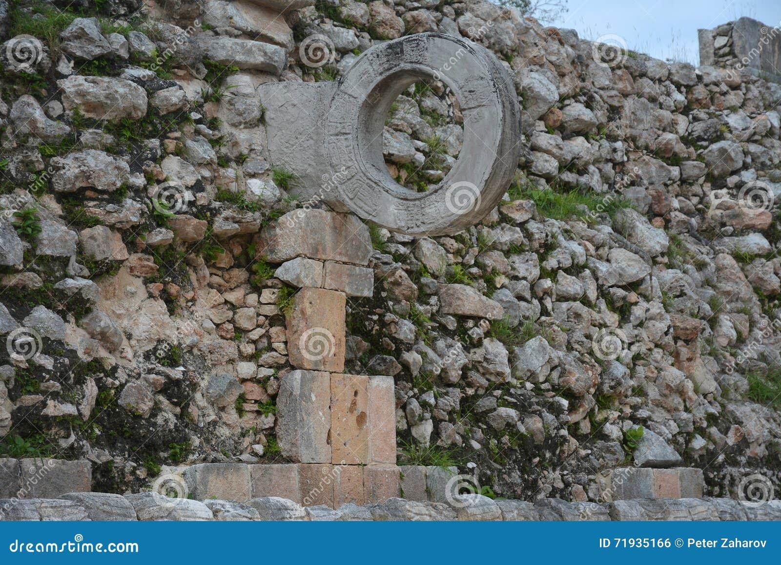 Спортивная площадка для центра событий в старом майяском месте Uxmal, pe Юкатана