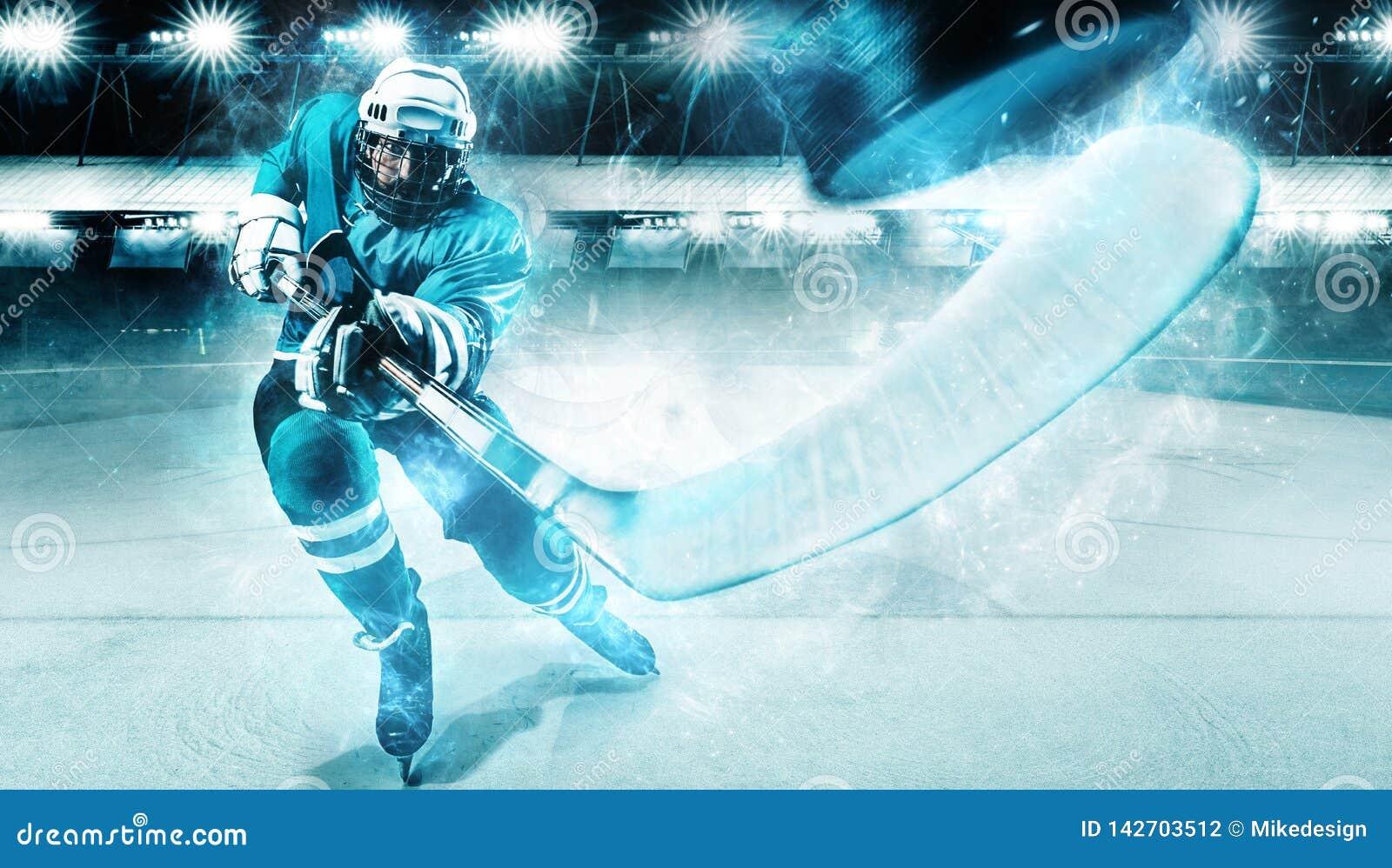 Спортсмен игрока хоккея на льде в шлеме и перчатки на стадионе с ручкой Съемка действия изолированная принципиальной схемой белиз