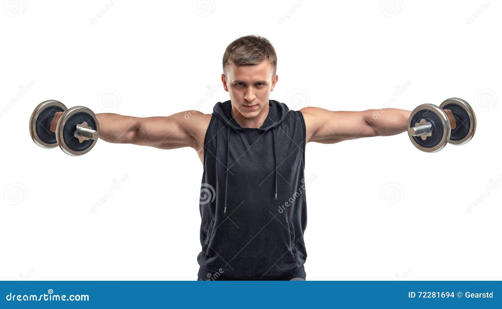 Download Спортсмен Coutout уверенно поднимает гантели для тренировки его плеч и дельтоидов Стоковое Фото - изображение насчитывающей гимнастика, уверенно: 72281694