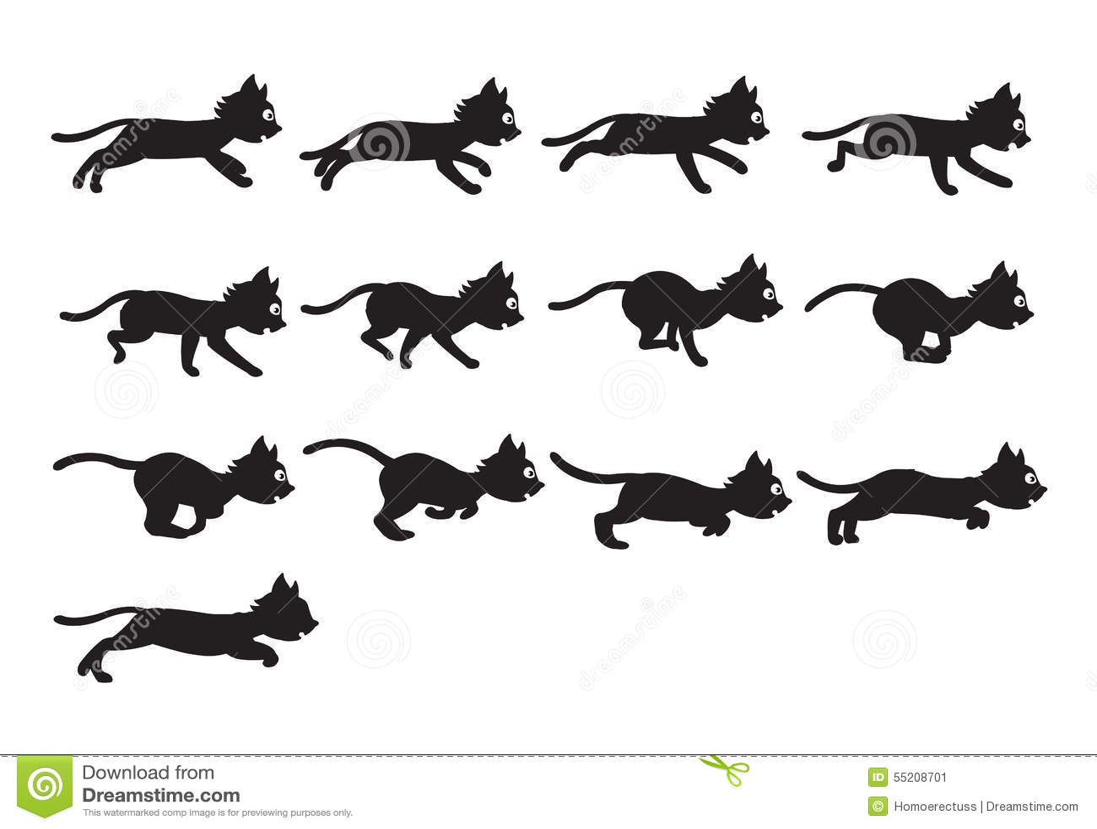 Анимация кот бежит