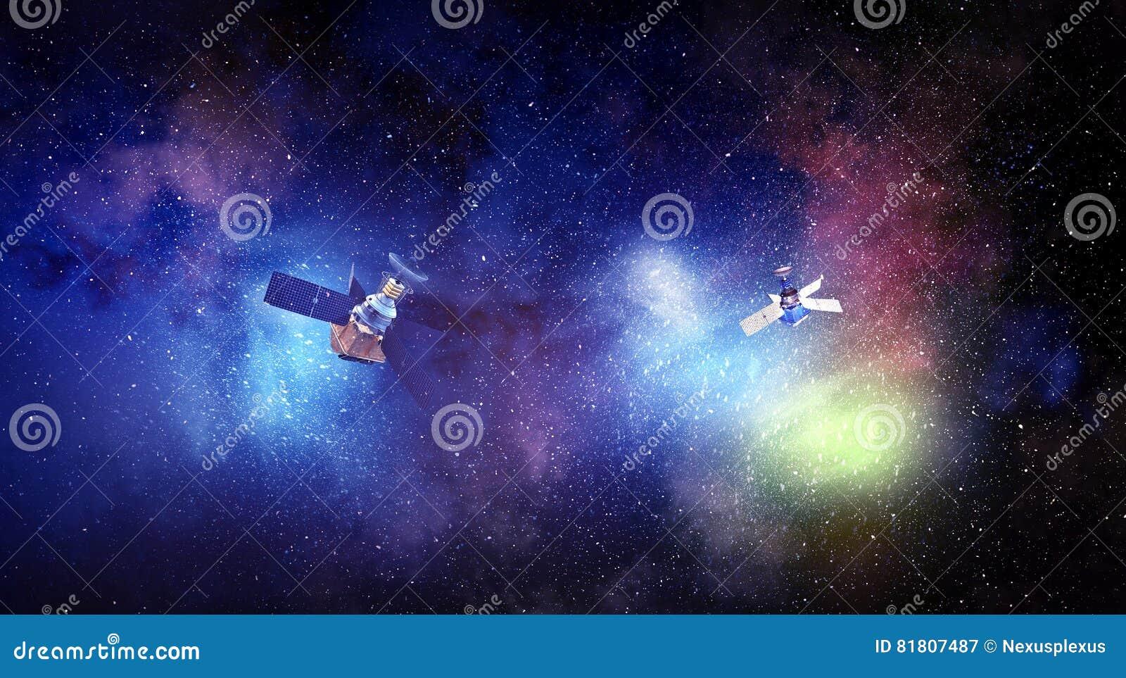 Спутник космоса над звёздной предпосылкой Мультимедиа