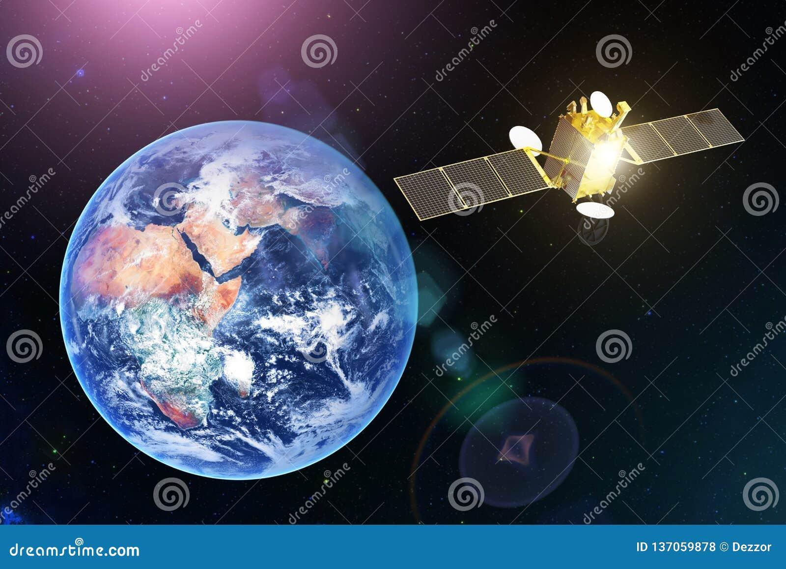 Спутник спутниковых связей космоса в геостационарной орбите земли планеты Элементы этого изображения поставленные NASA