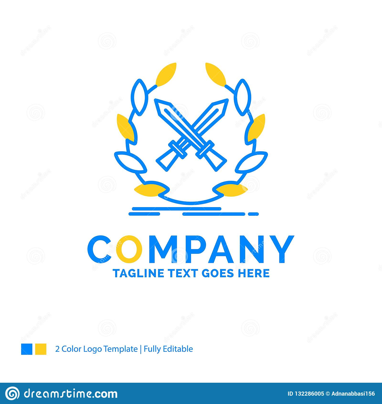 сражение, эмблема, игра, ярлык, te логотипа дела шпаг голубое желтое