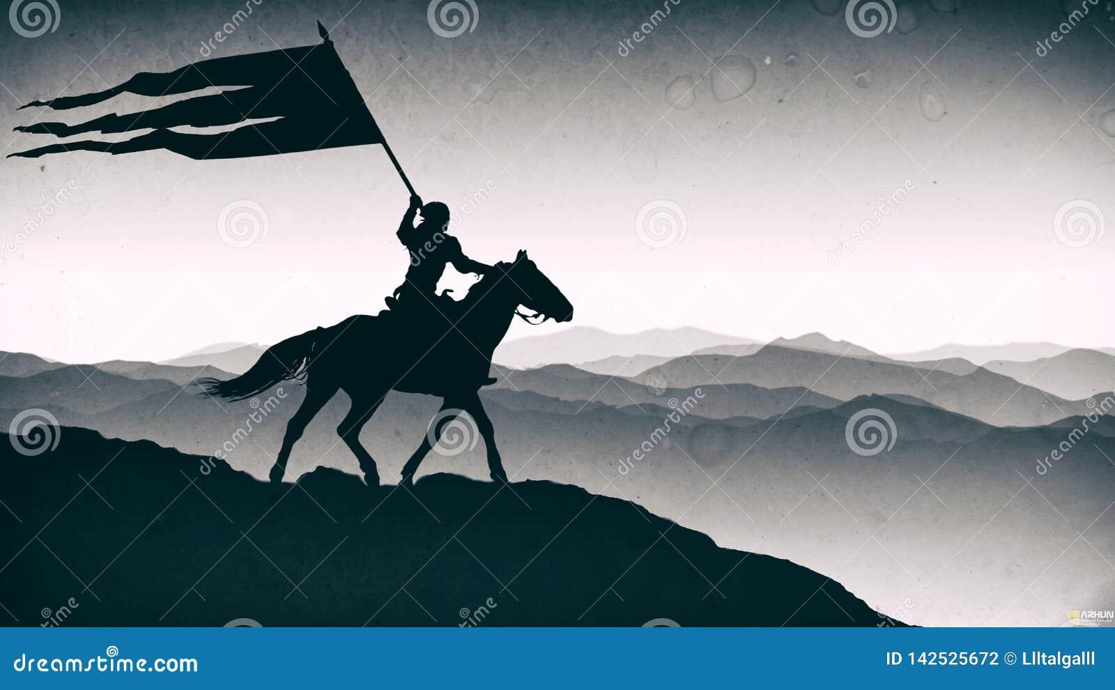 """Сражение """"Orbulak """" Пекин, фото Китая светотеневое Воин держит знамя"""