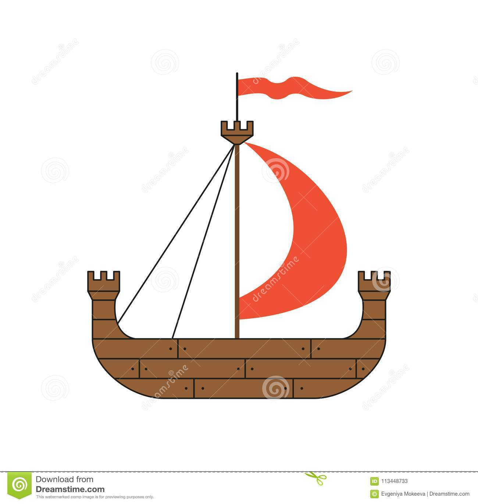 Средневековый корабль на белой предпосылке