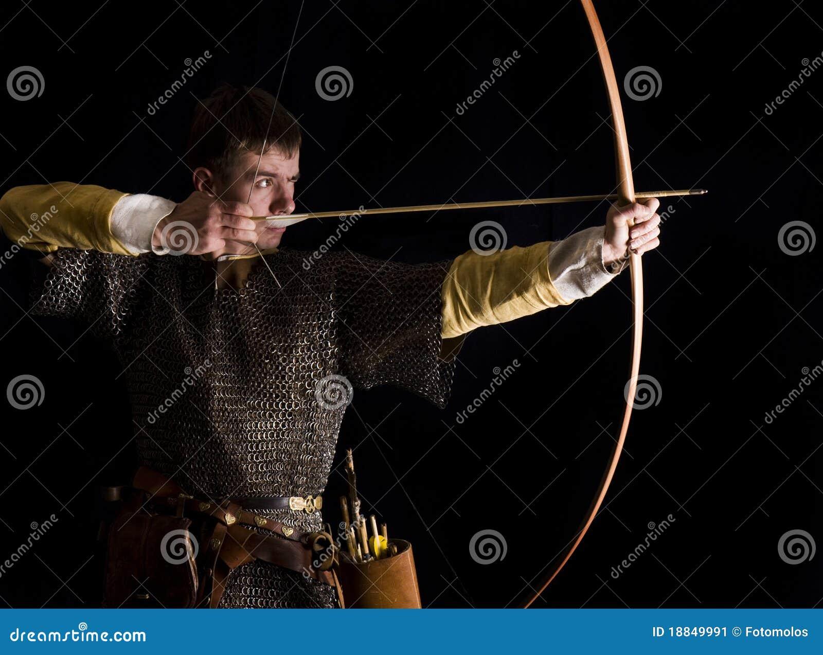 Средневековый стрелок. Съемка студии