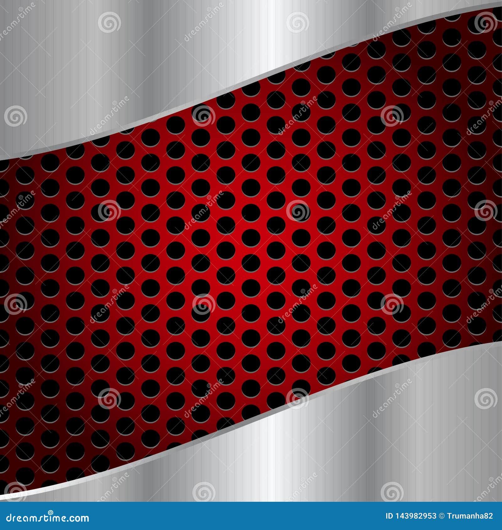 Сталь конспекта сияющая почищенная щеткой на красной предпосылке сетки металла