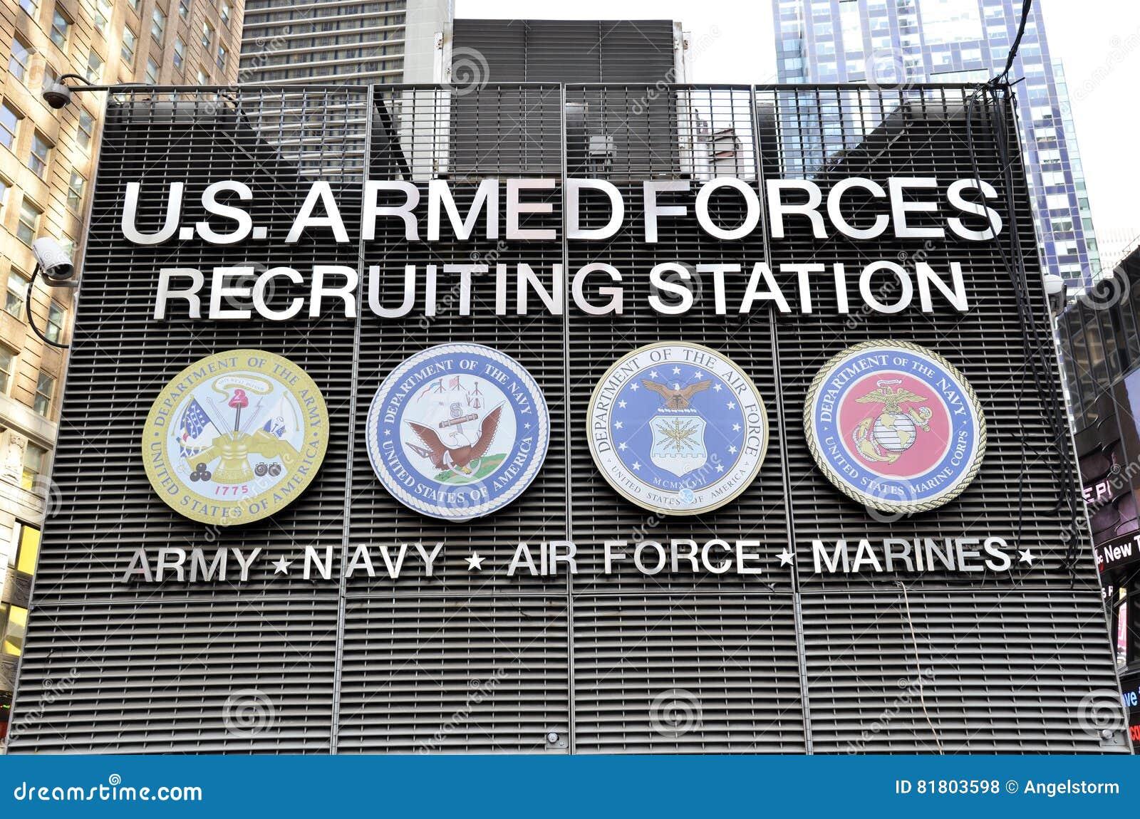 Станция вооруженных сил страны США завербовывая на Таймс площадь