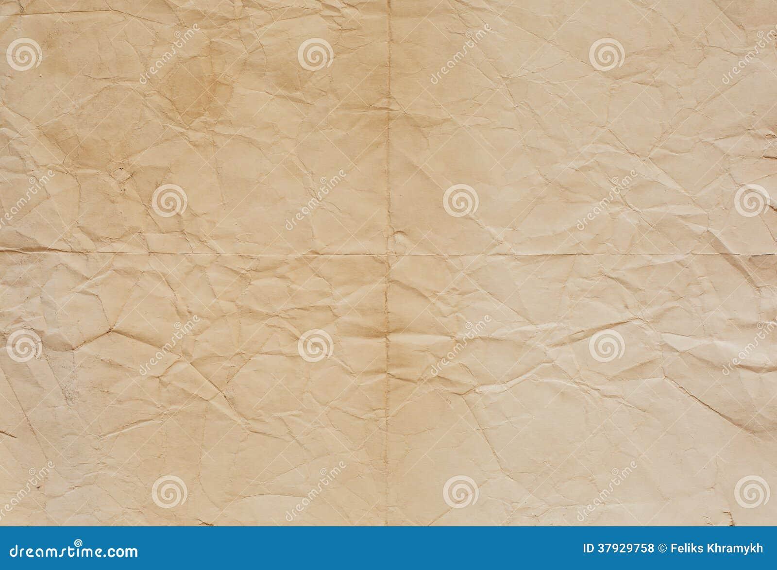 Старая бумажная текстура с линиями залома