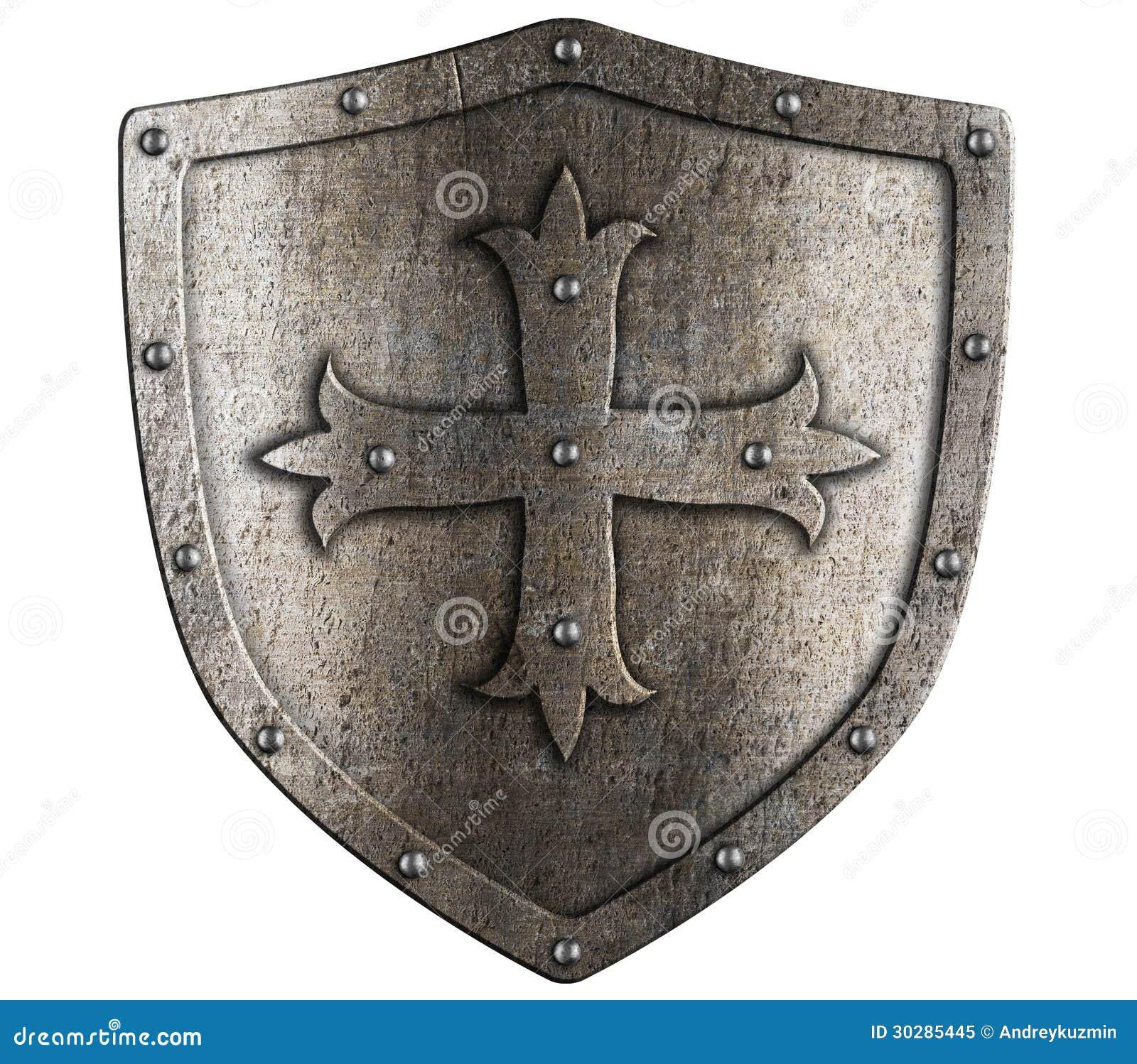 Старый экран металла крестоносца при изолированный крест