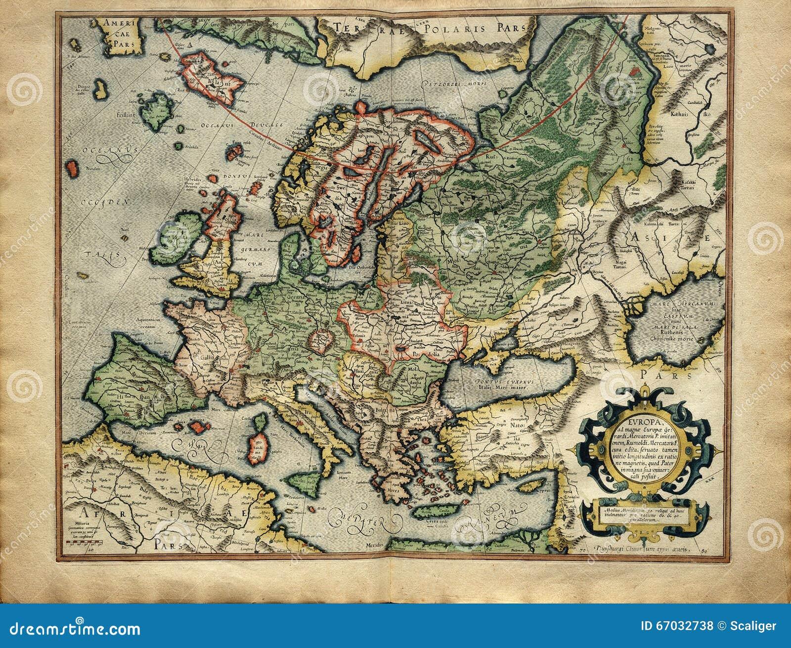 Старая карта Европы от атласа напечатала в 1587 Mercator