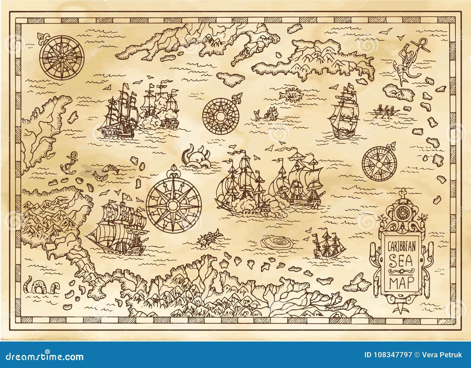 Старая карта пирата карибского моря с кораблями, островами и тварями фантазии