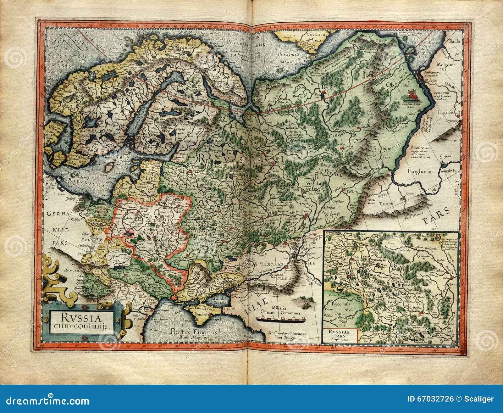 Старая карта России от атласа напечатала в 1587 Mercator