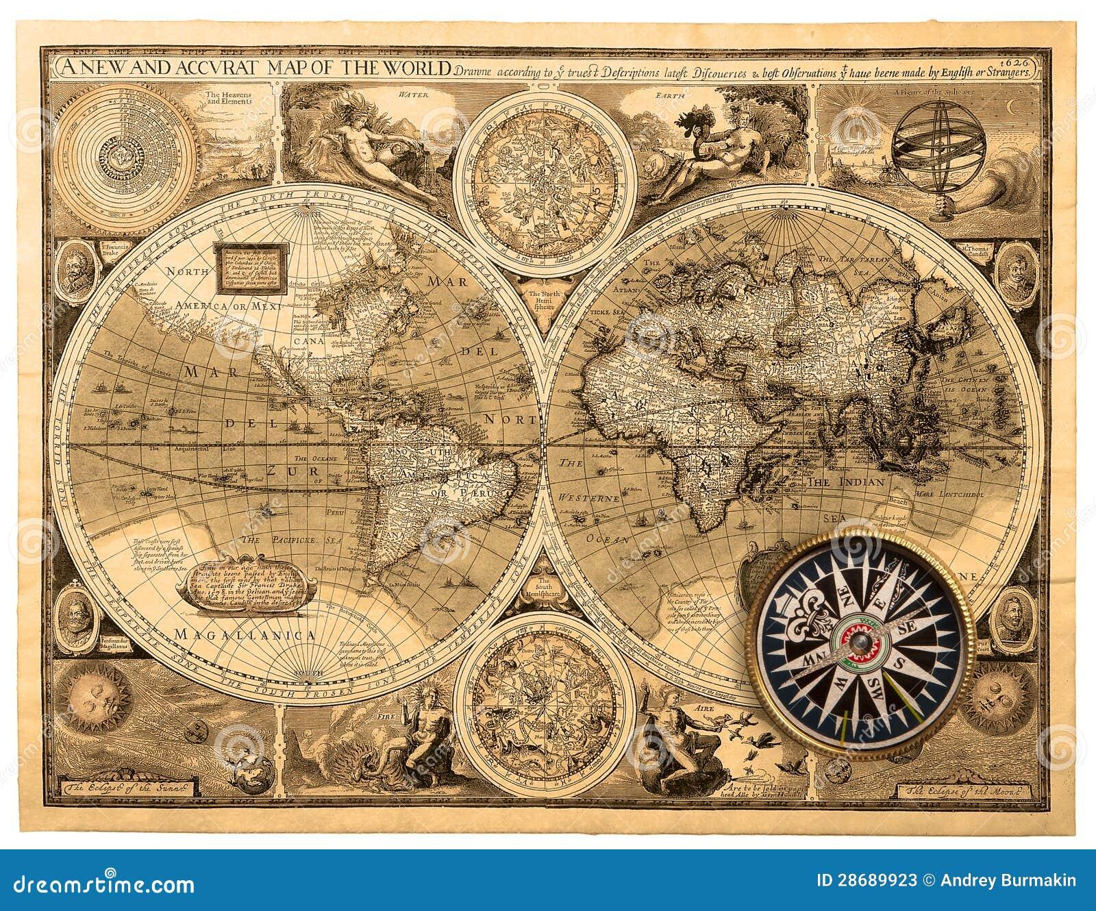 Старая карта (1626). Карта новой и accvrat мира