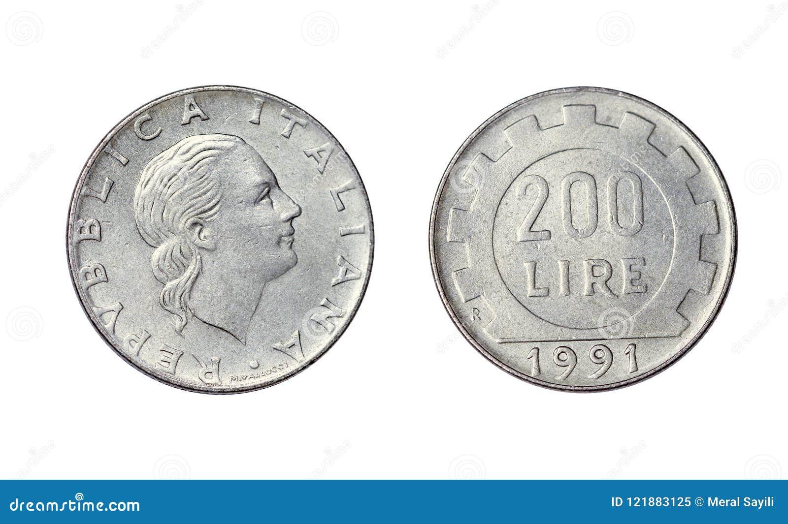 Старая монетка в Италии, 200 лирах года 1991
