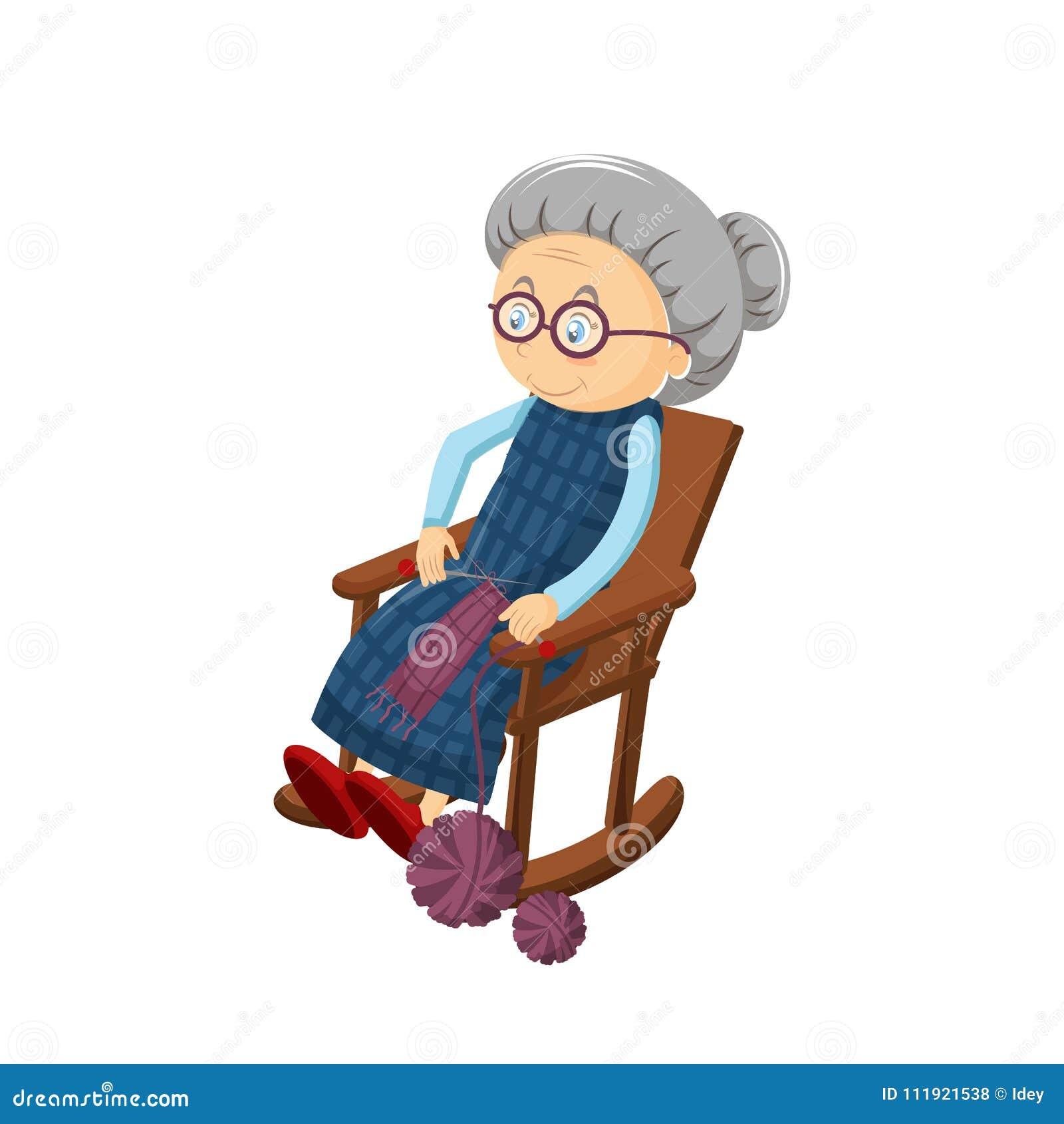 Старая седая бабушка, сидит в уютном стуле тряся, вышивающ, вязать