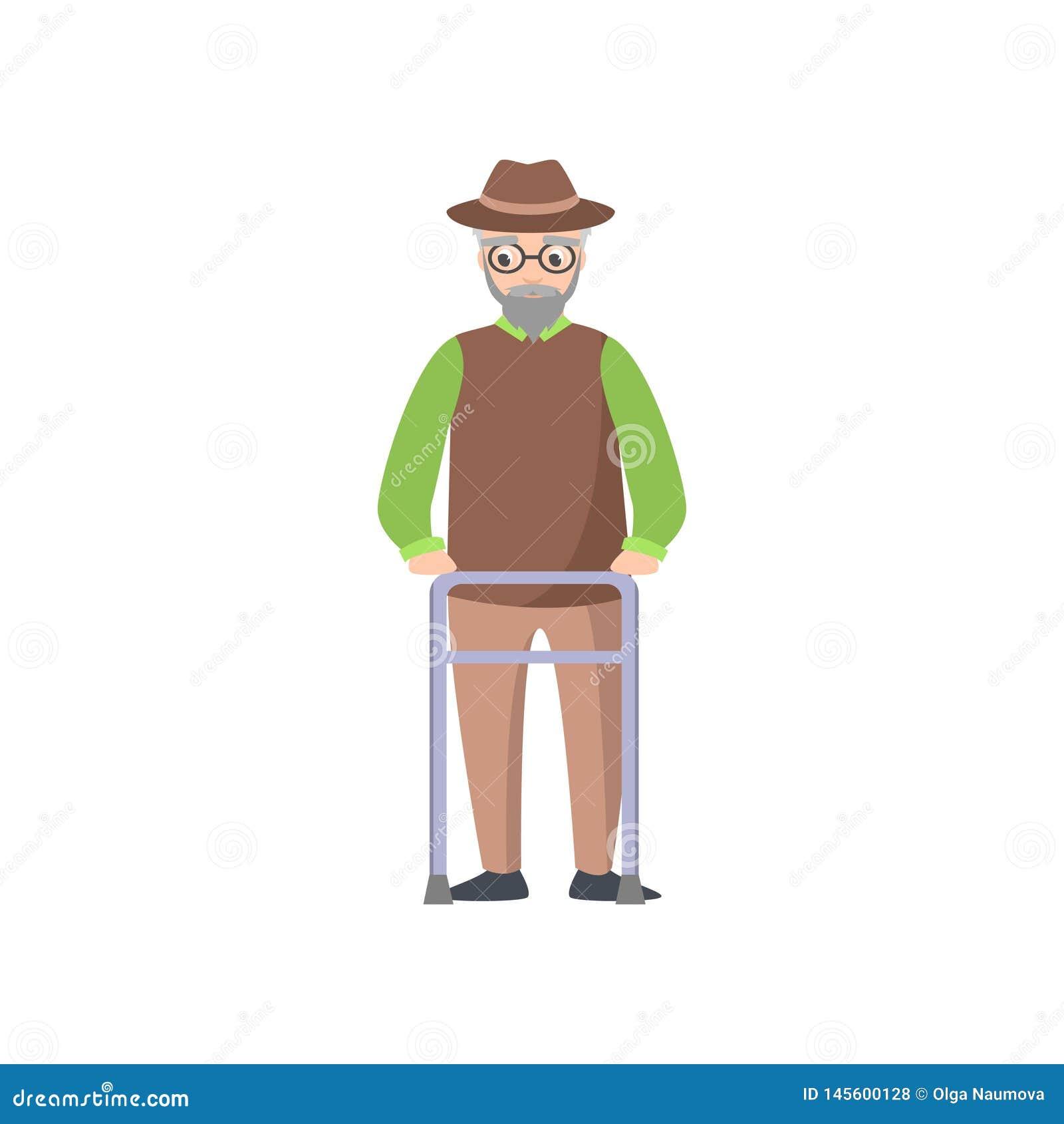 Старик в eyeglasses, зеленая рубашка с ходоком металла