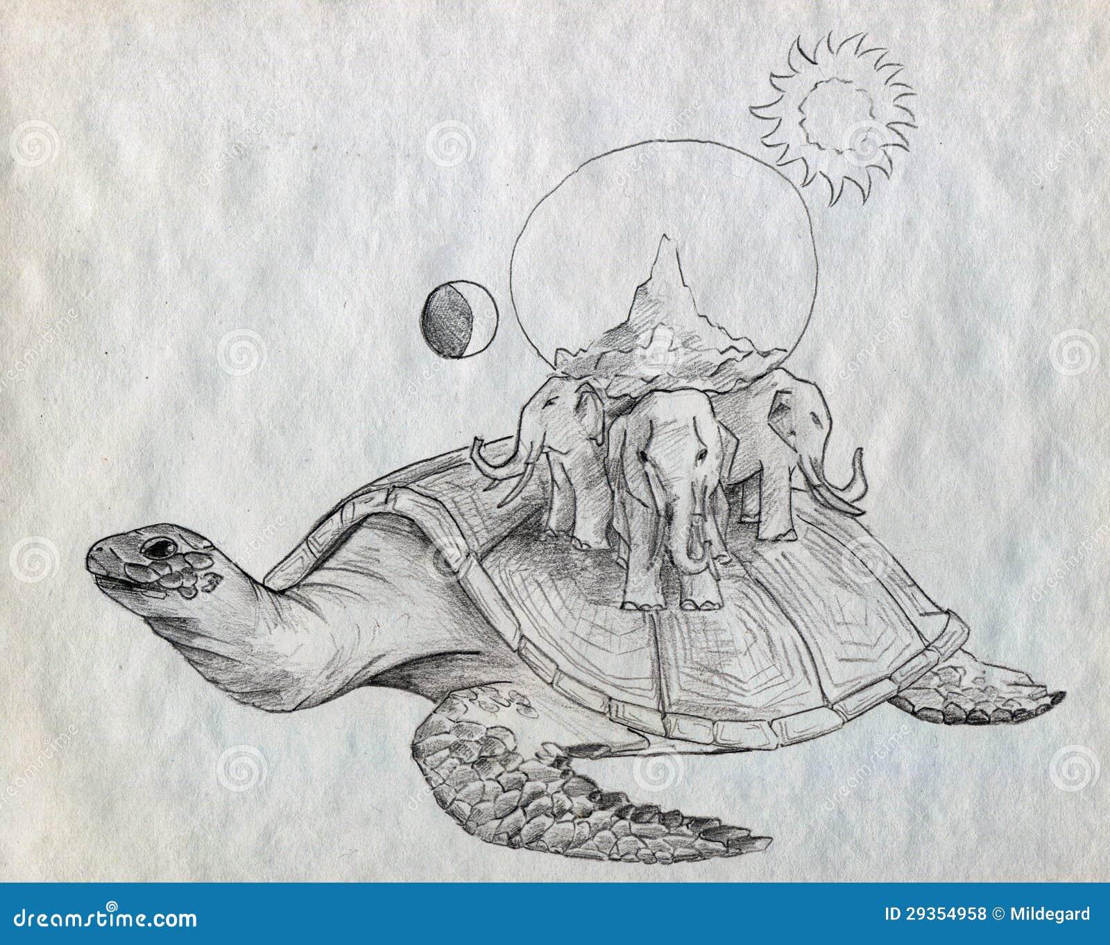 Земля на слонах и черепаха рисунок