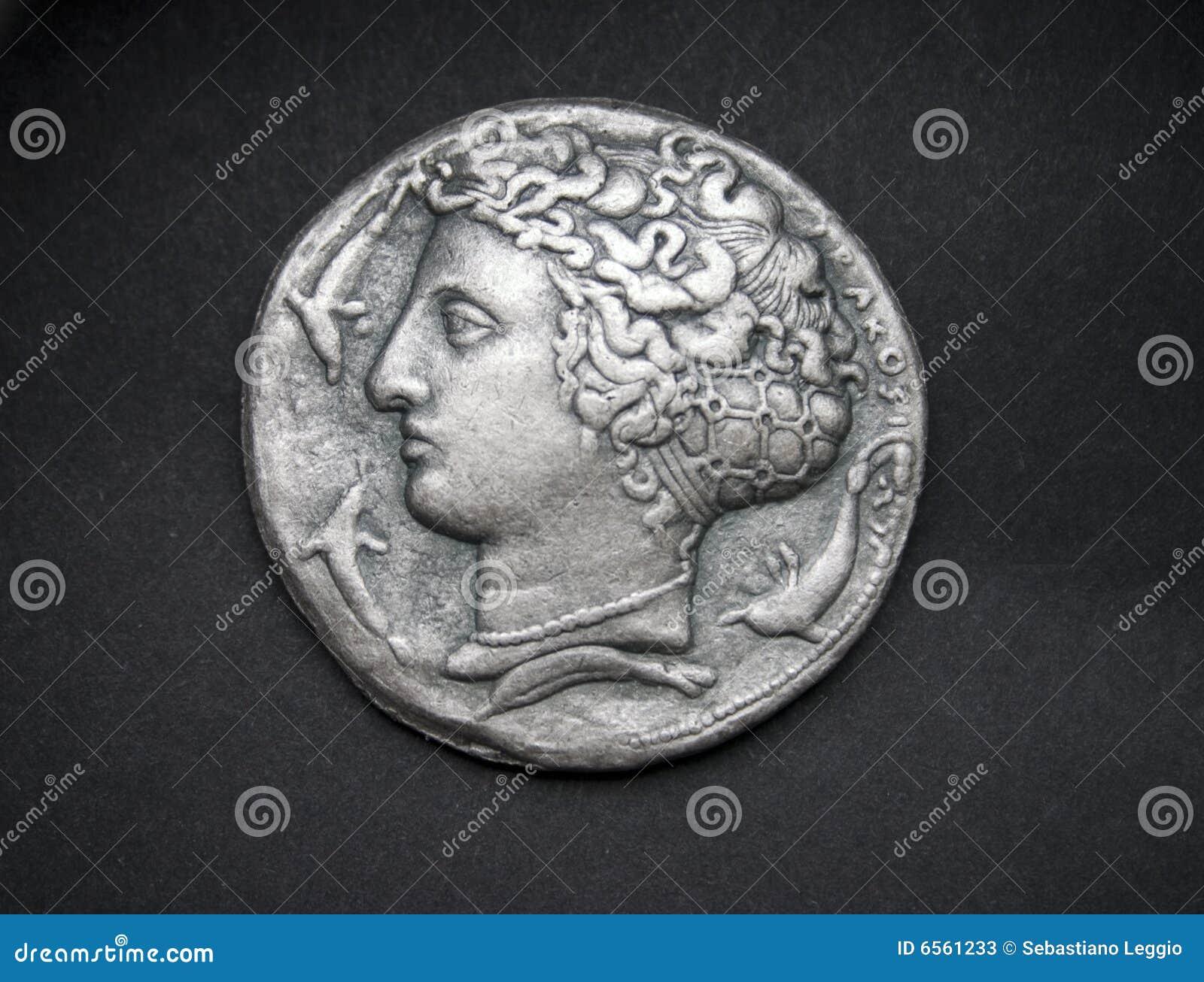 стародедовская монетка греческий серебряный syracuse