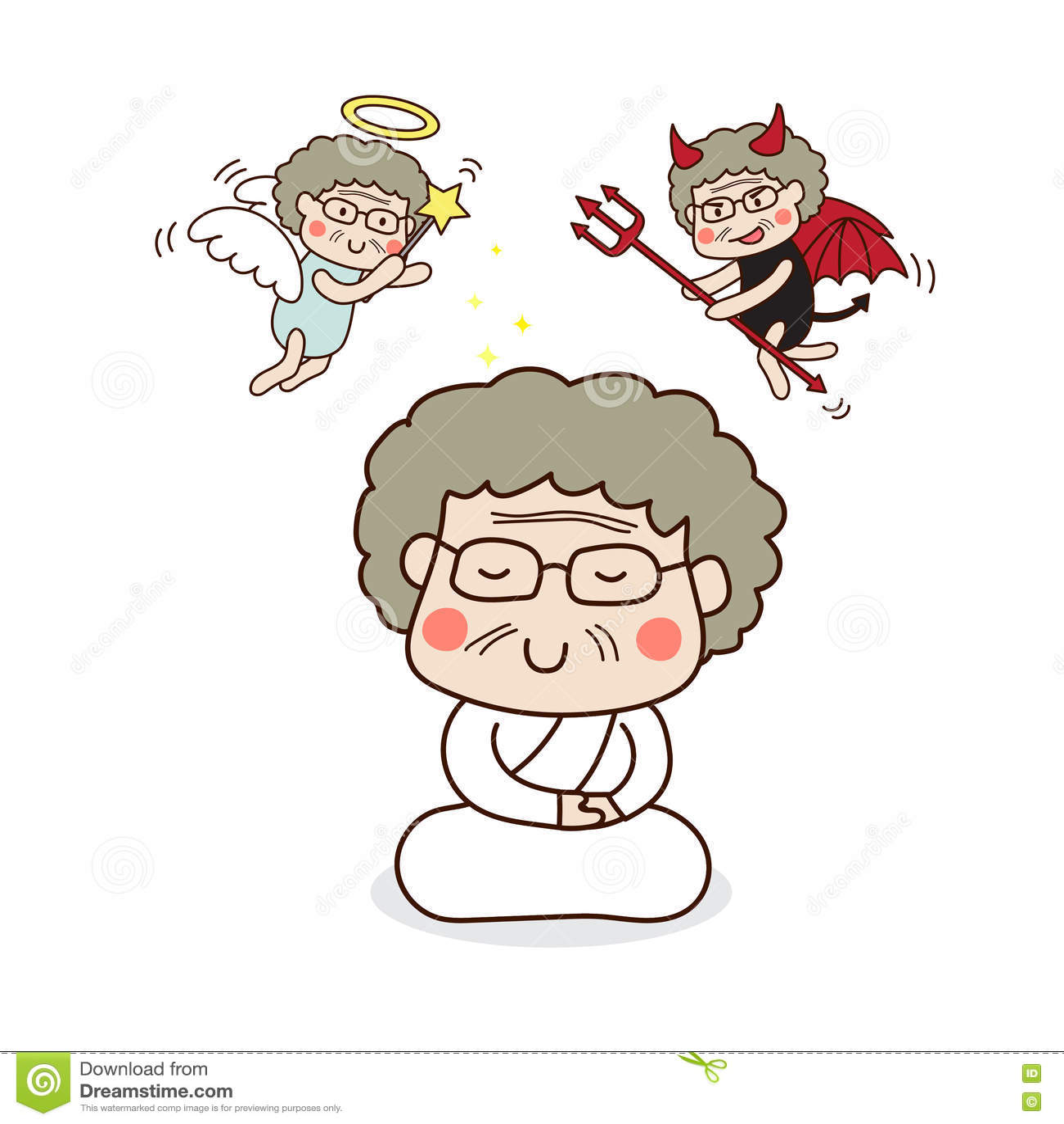 Download Старший женский размышлять с ангелом и дьяволом Иллюстрация вектора - иллюстрации насчитывающей вызревание, буддийские: 72285617