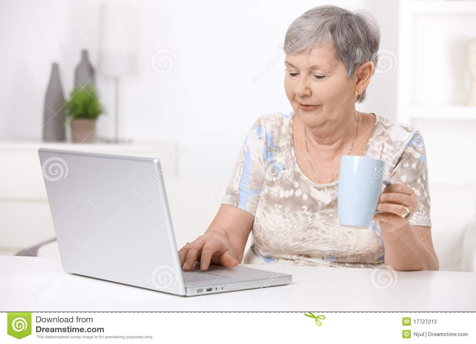 старший компьтер-книжки компьютера используя женщину