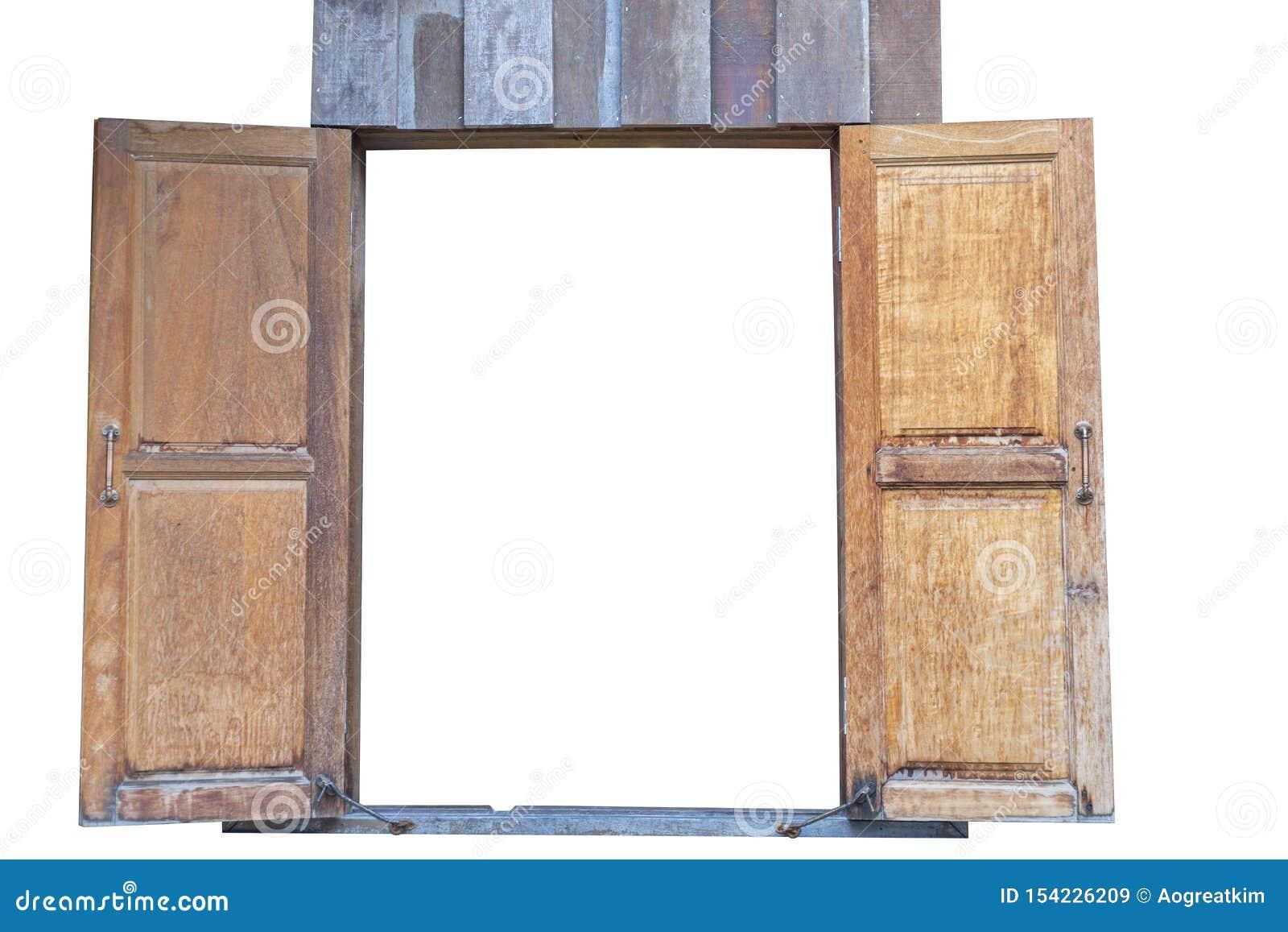 Старые деревянные двойные окна r Сохраните с путем клиппирования