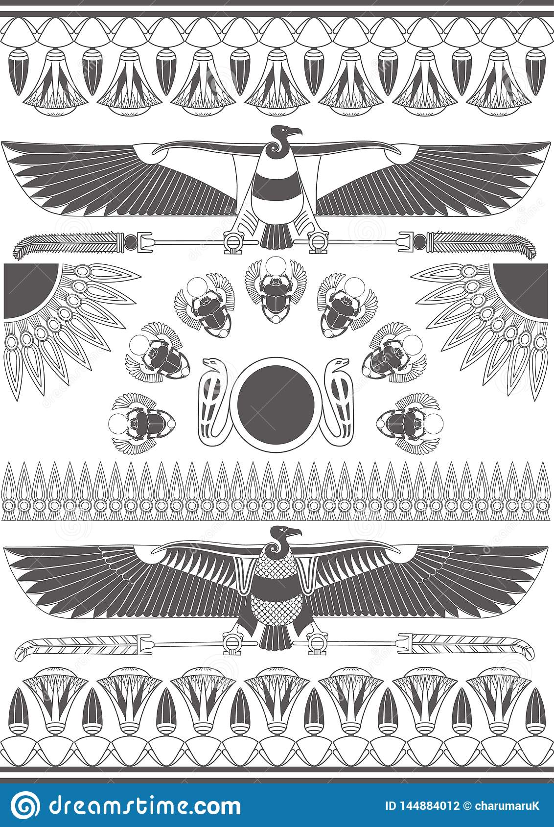 Старые египетские настенные росписи, скульптуры и картины Предпосылка древнего египета monochrome