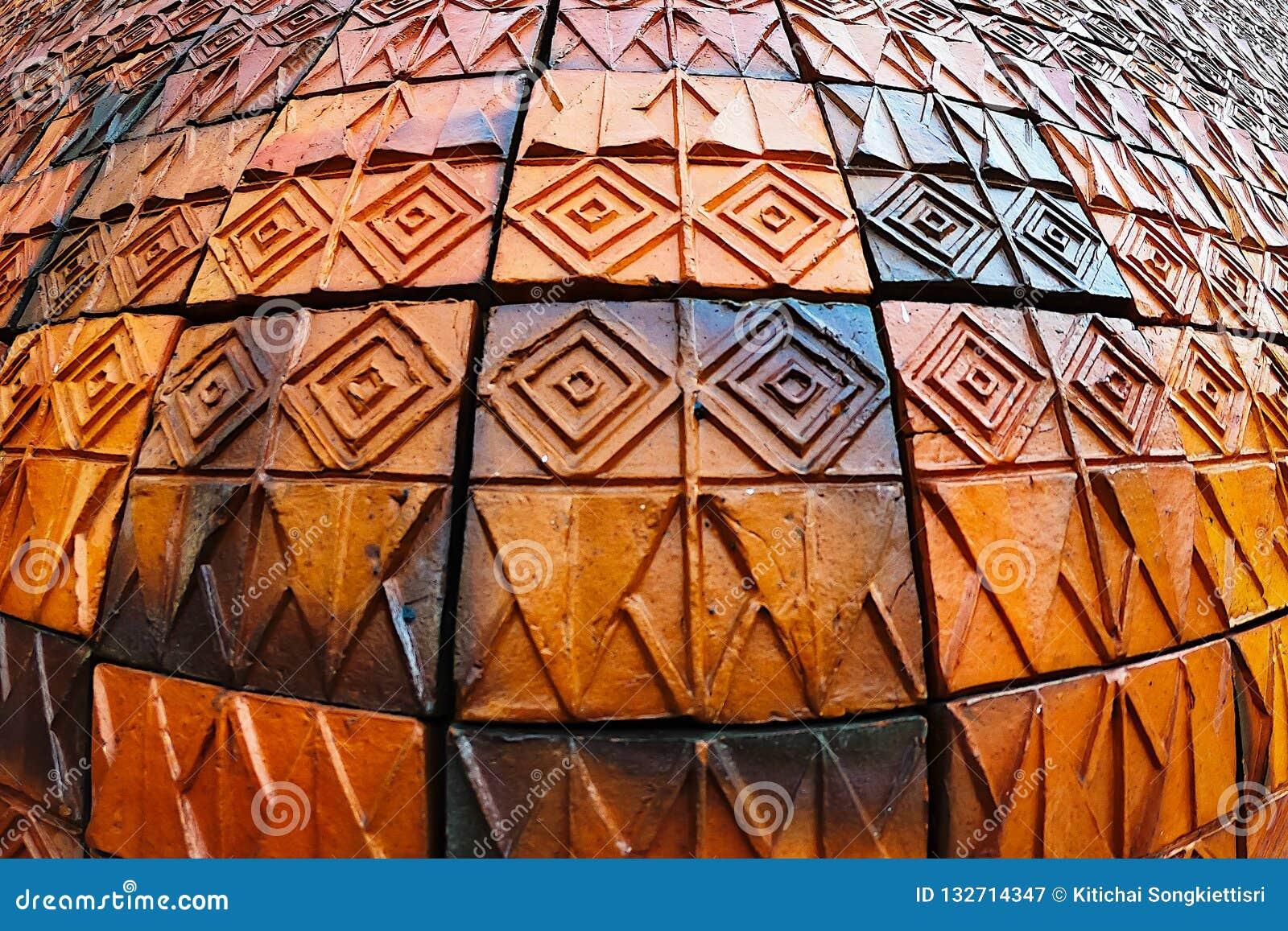 Старые картины керамических плиток стены handcraft внутреннее backgound от публики парков Таиланда