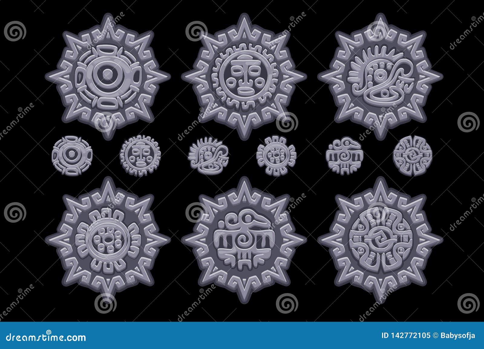 Старые мексиканские символы мифологии изолированные на каменном талисмане Американский ацтек, тотем майяской культуры родной икон