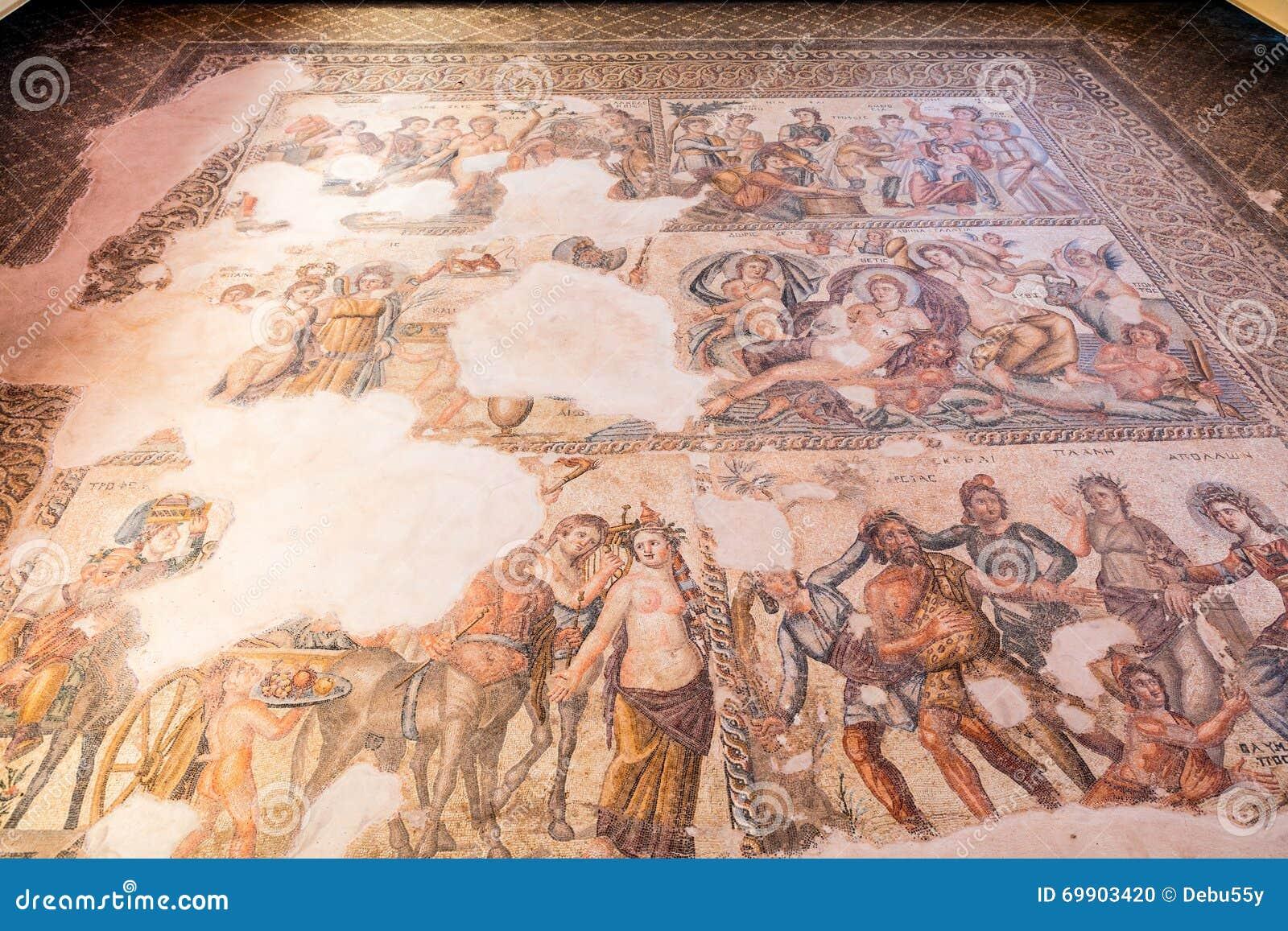 Старые римские и старые мозаики в Paphos, Кипре