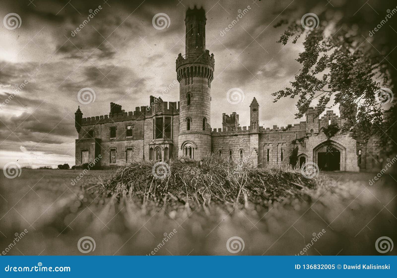 Старые средневековые руины замка, дерево и бурное небо в стиле sepia