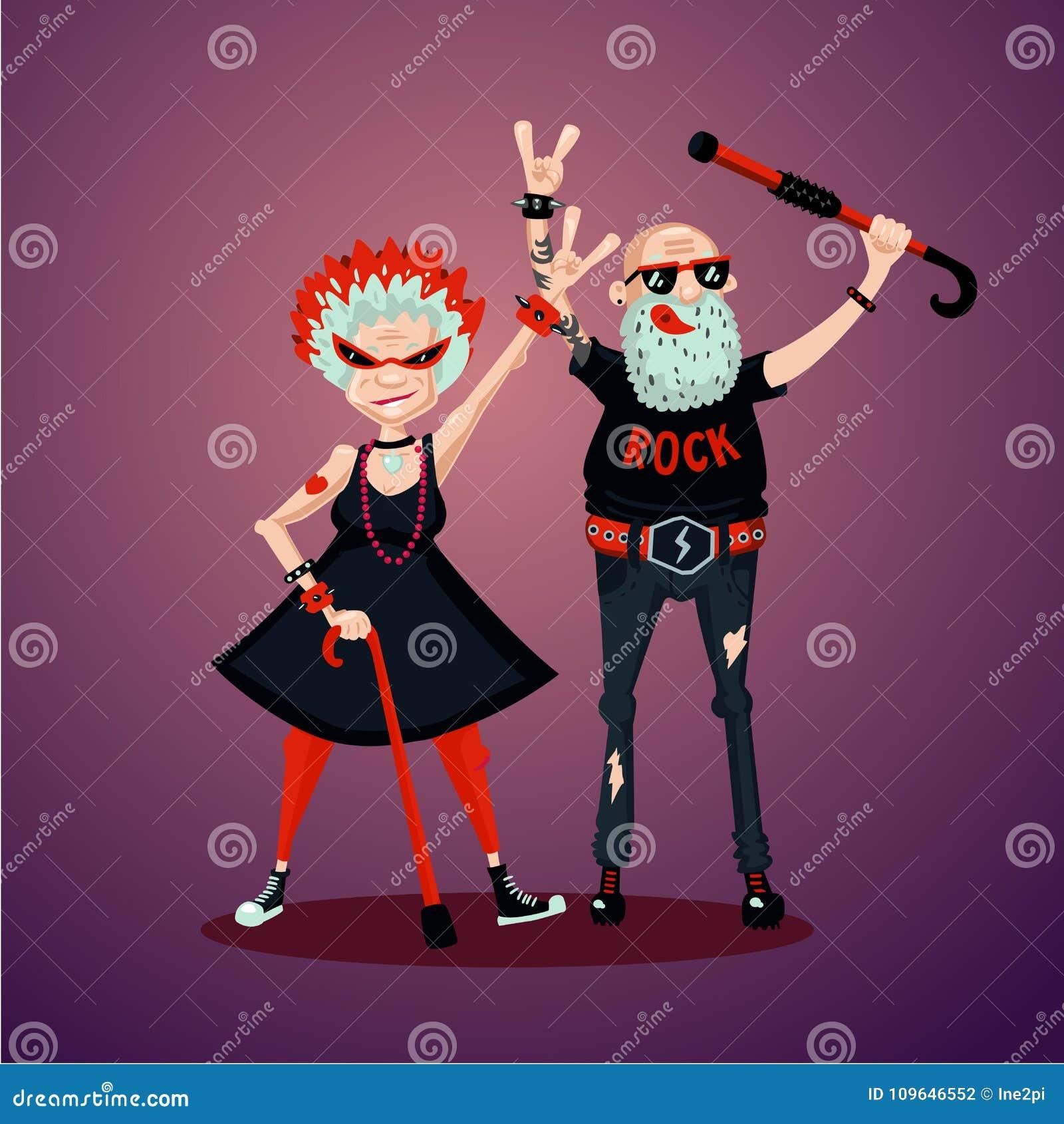 Старые friedns Старшие взрослые пары Фанатики рок-музыки Иллюстрация юмора, персонажи из мультфильма