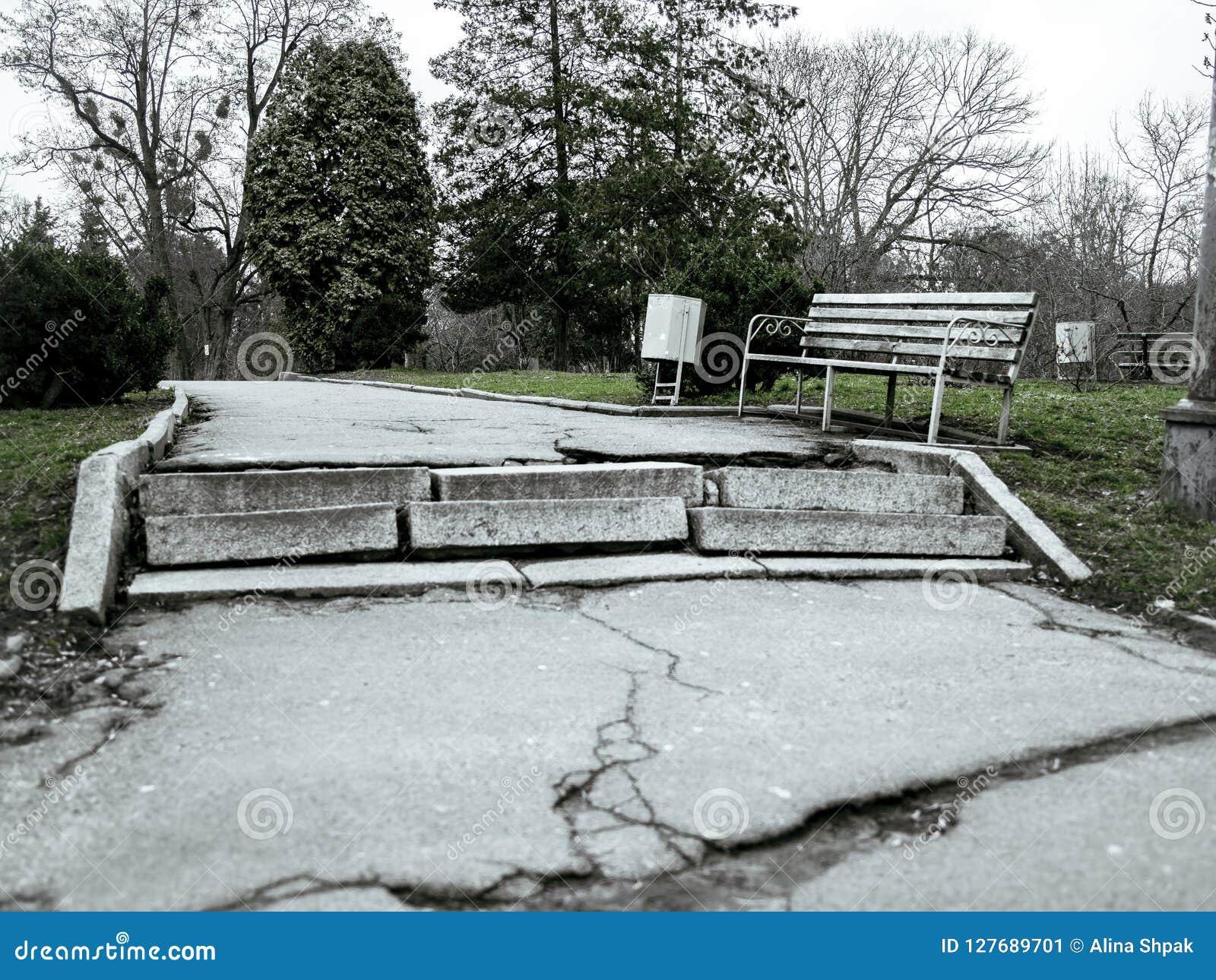 Старый дезертированный ботанический сад в пасмурной холодной осени