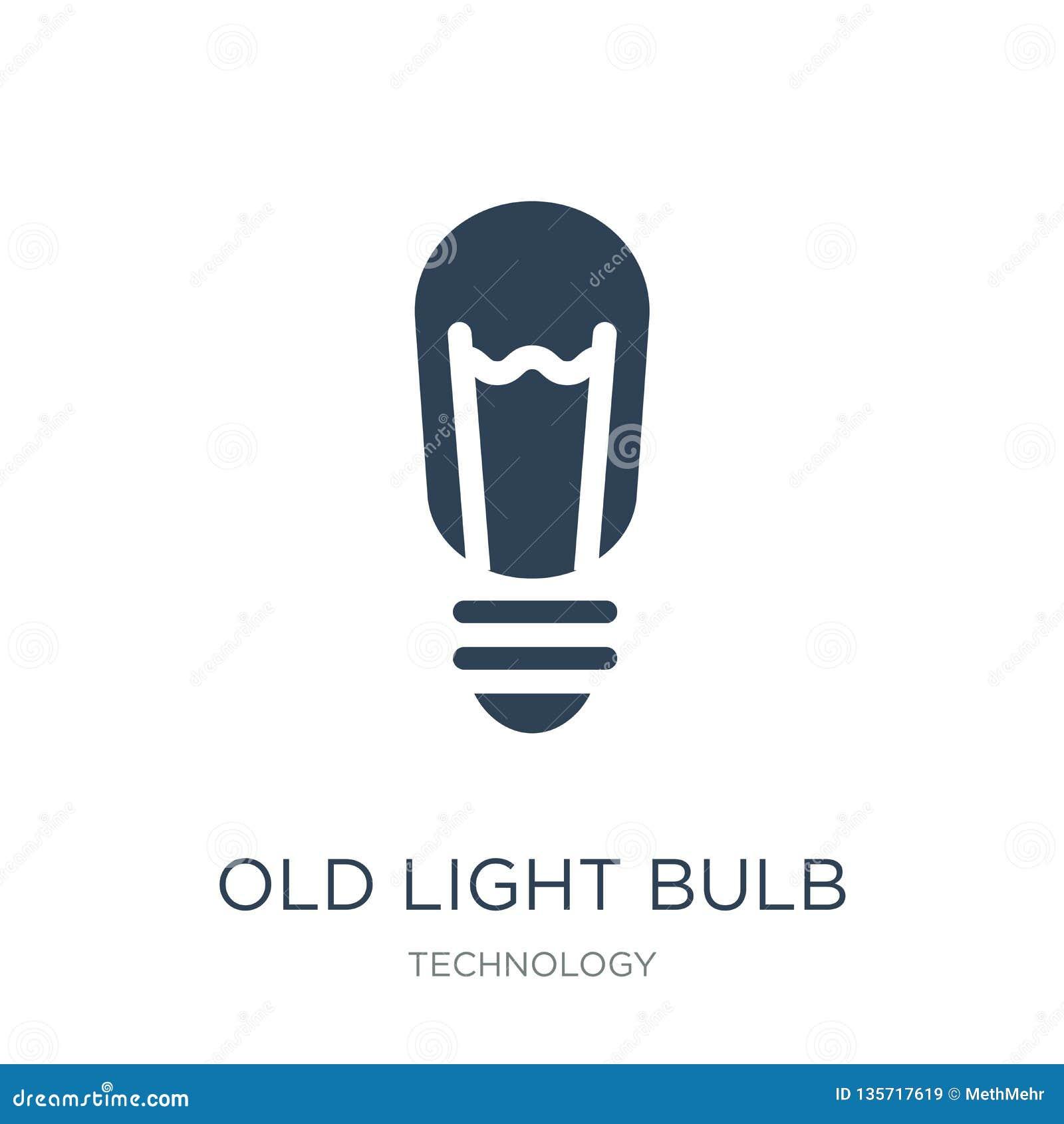 старый значок электрической лампочки в ультрамодном стиле дизайна старый значок электрической лампочки изолированный на белой пре