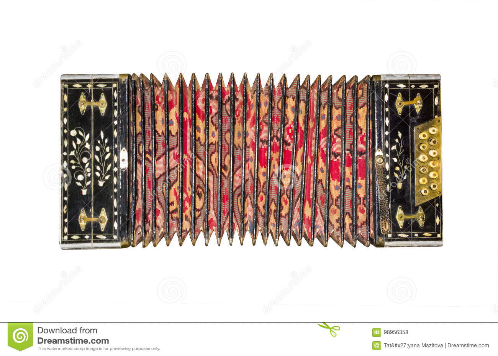 Старый изолированный аккордеон Винтажная гармоника Ретро аккордеон кнопки