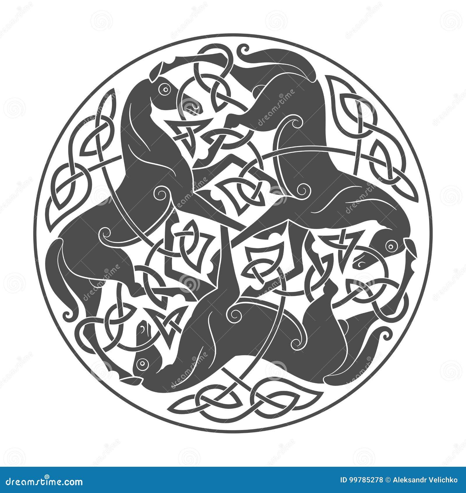 Старый кельтский мифологический символ троицы лошади