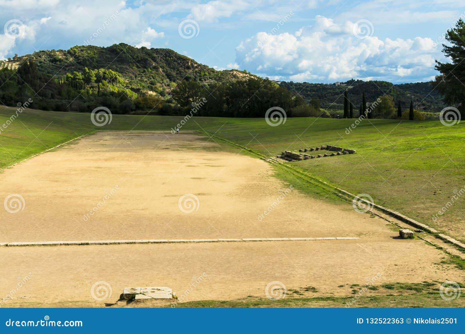 Старый классический грек Olympic Stadium на Олимпии в Греции