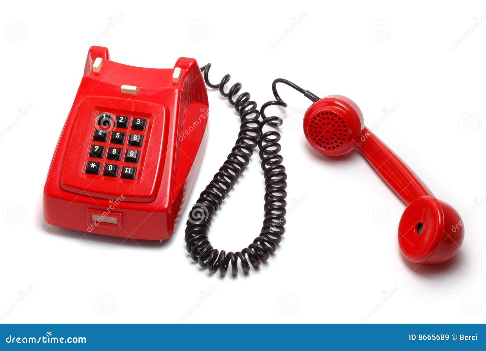 старый красный телефон