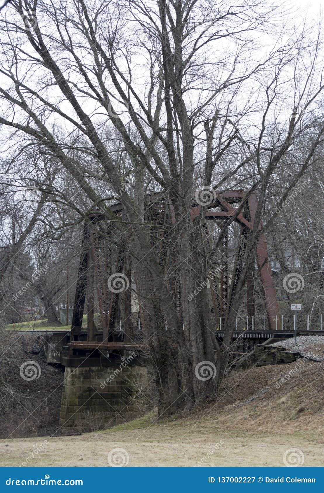Старый мост железной дороги железного каркаса