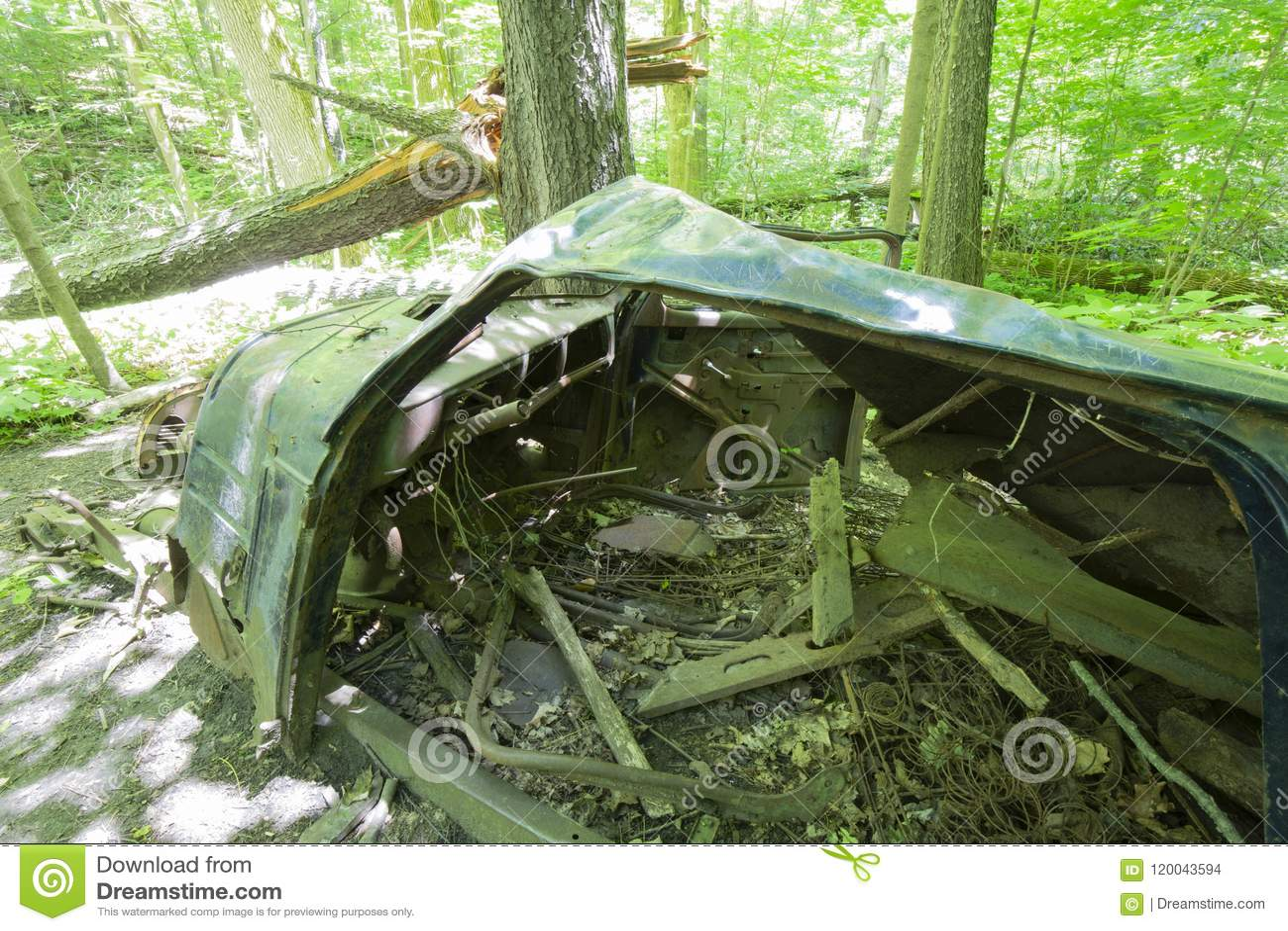 Старый покинутый автомобиль в лесе