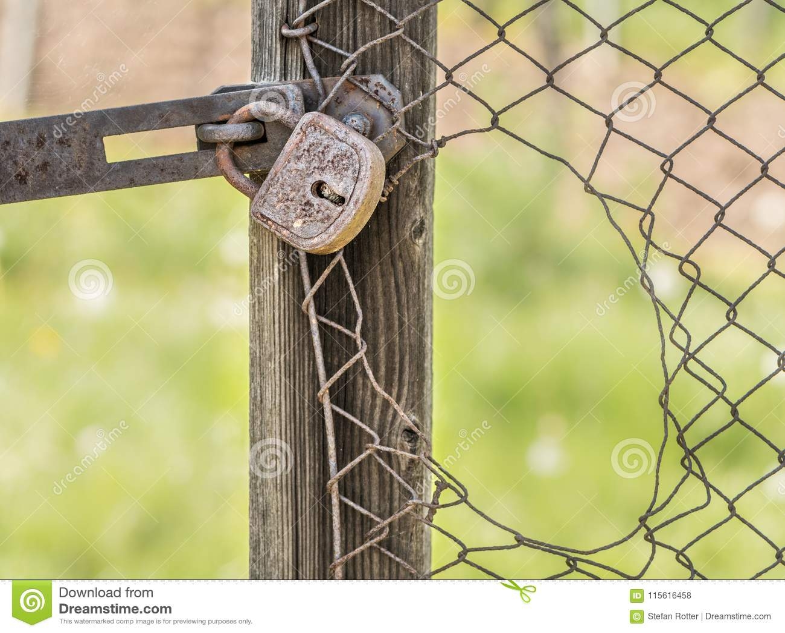 Старый ржавый padlock и сломленная загородка