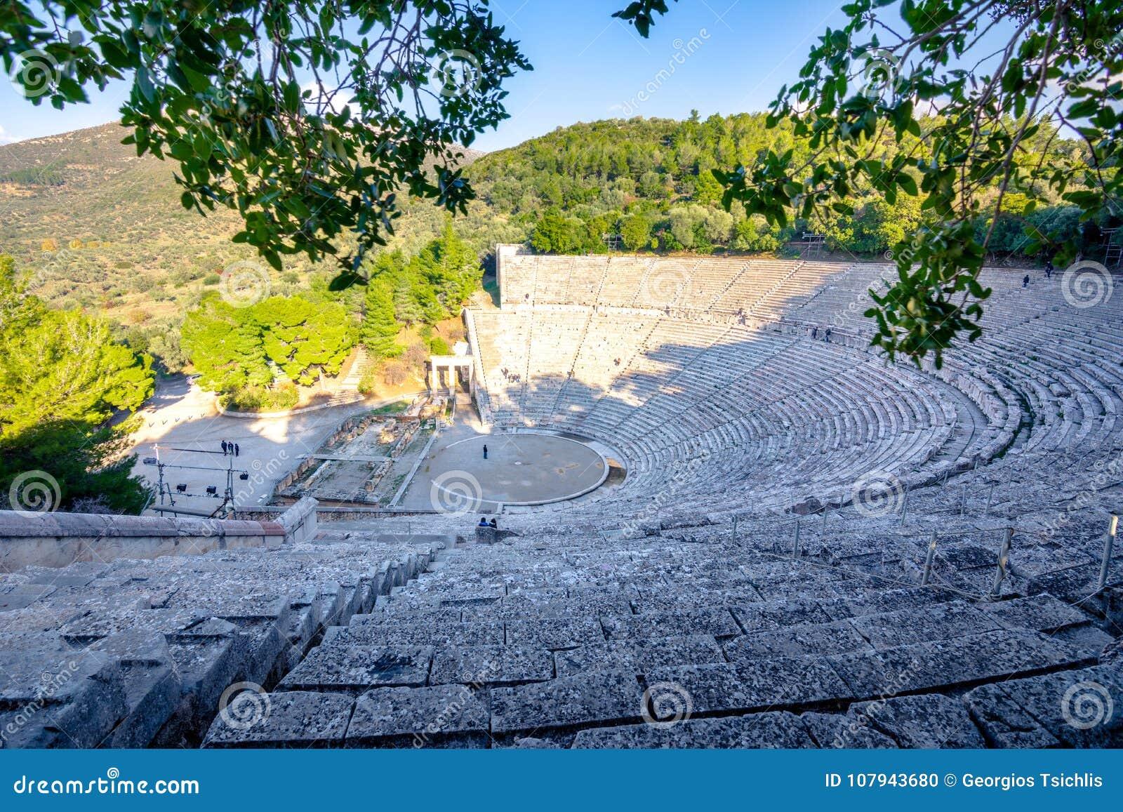 Старый театр Epidaurus или ` Epidavros `, префектуры Argolida, Пелопоннеса