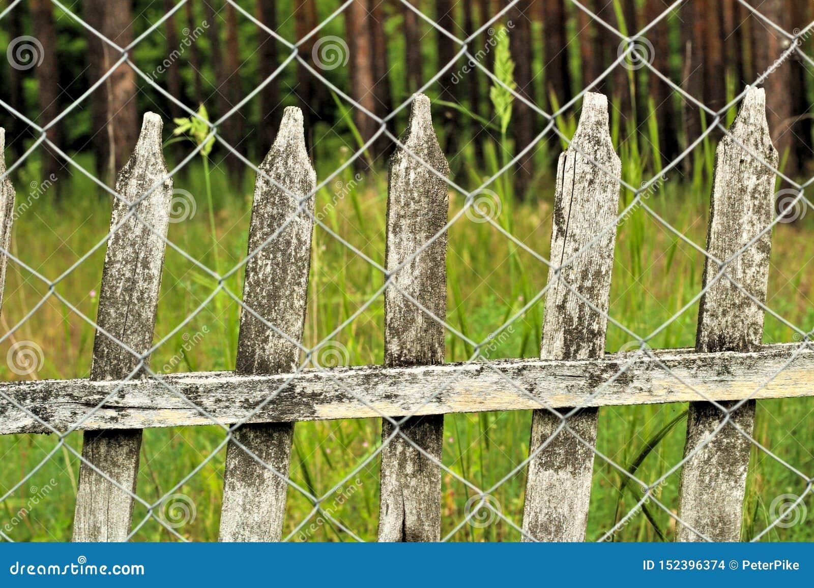 старый частокол на заднем плане загородки звена цепи Винтажный ландшафт сельской местности